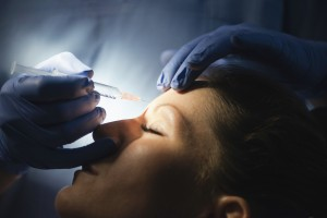 Botox treatment in forehead