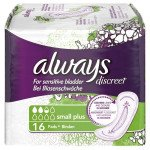 Always incontinence range Discreet  pads small plus  16