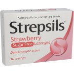 Strepsils lozenge strawberry sugar free 36 pack