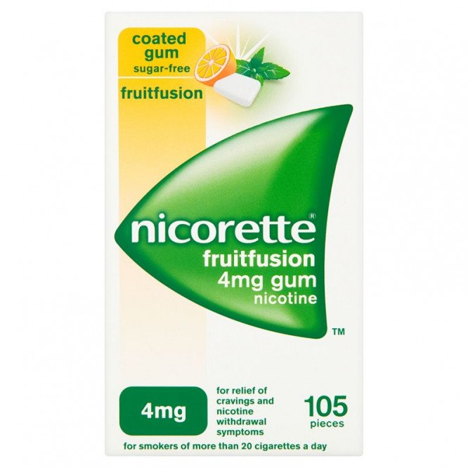 NICORETTE GUM FRUITFS 4MG 105