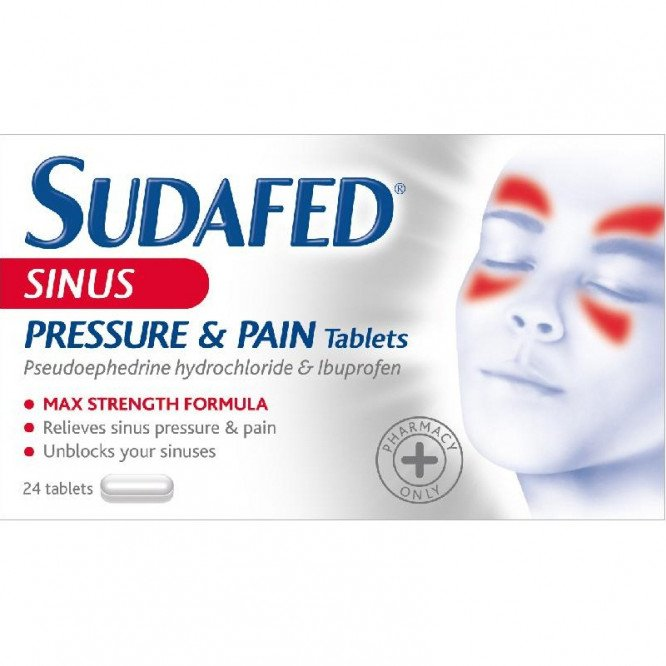 Sudafed Sinus Pressure & Pain Max Strength 200mg (24 Tabs)