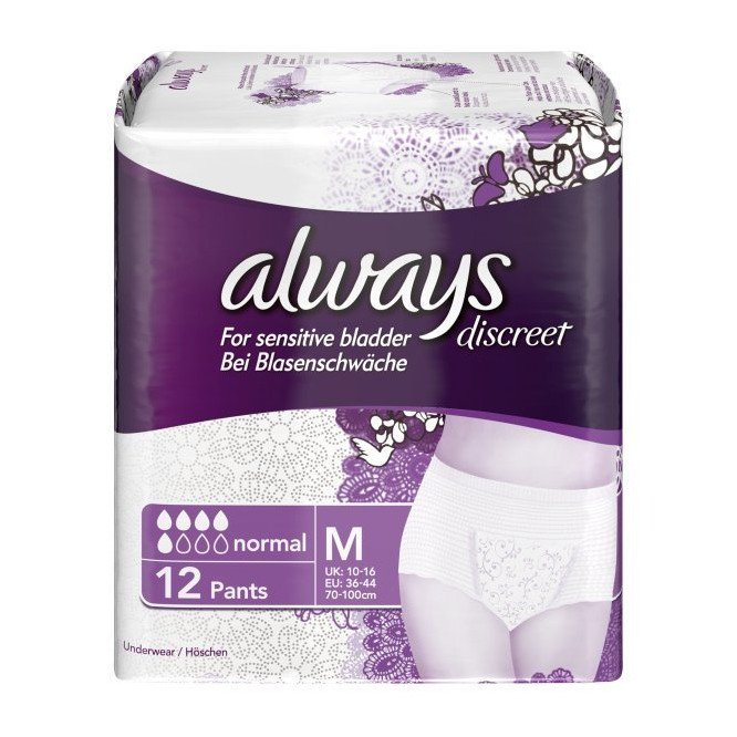 Always incontinence range Discreet pants medium 12 pack