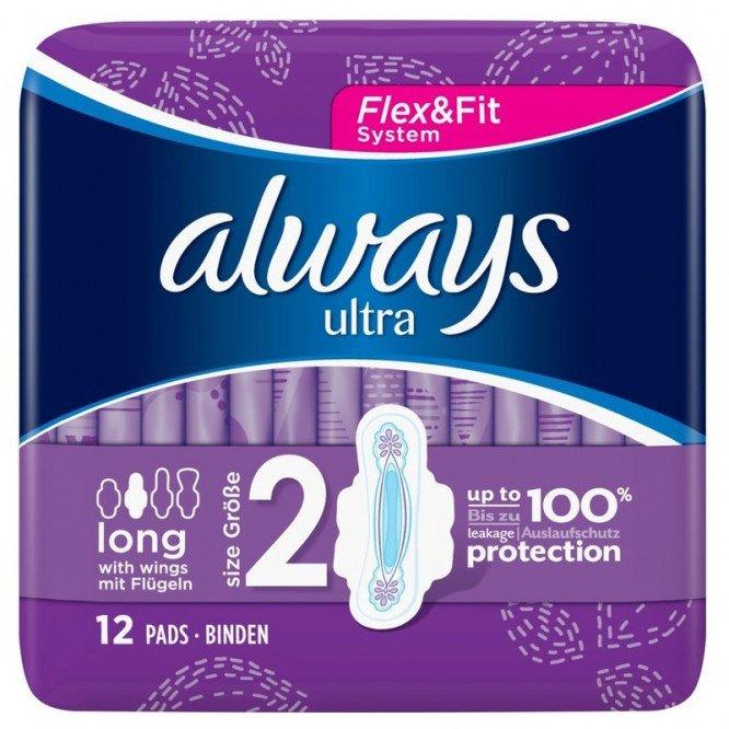 Always ultra sanitary towels pads long plus 12ct