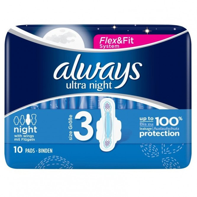 Always ultra sanitary towels pads night 10ct