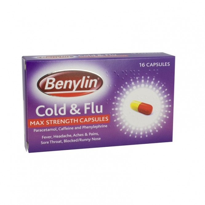 Benylin cold & flu max strength capsules 16 pack