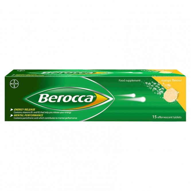 Berocca vitamin B effervescent tablets mango 15 pack