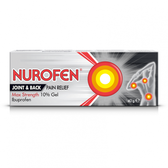 Nurofen joint & back max strength gel 10% 40g