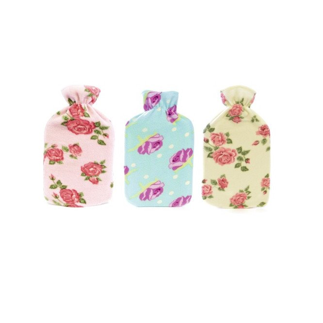 KS BRANDS HOT WATTER BOTTLE - PINK/AQUA/CREAM FLORAL