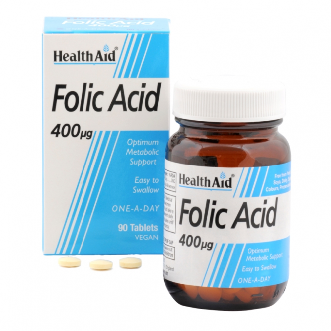 Healthaid vitamin B supplements folic acid tablets 400mcg 90 pack