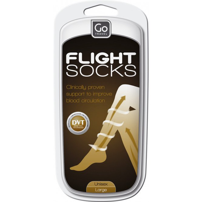 Go Travel Flight Socks Black (L)