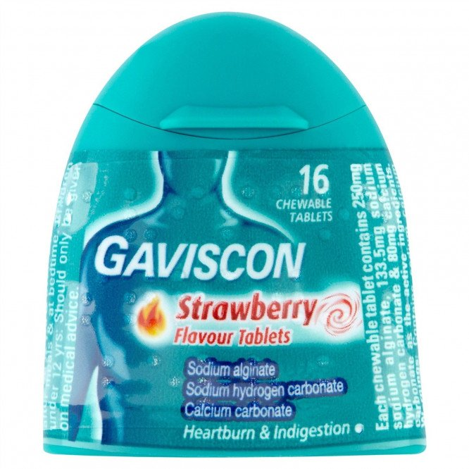 Gaviscon 250 tablets strawberry (handy pack) 16 pack