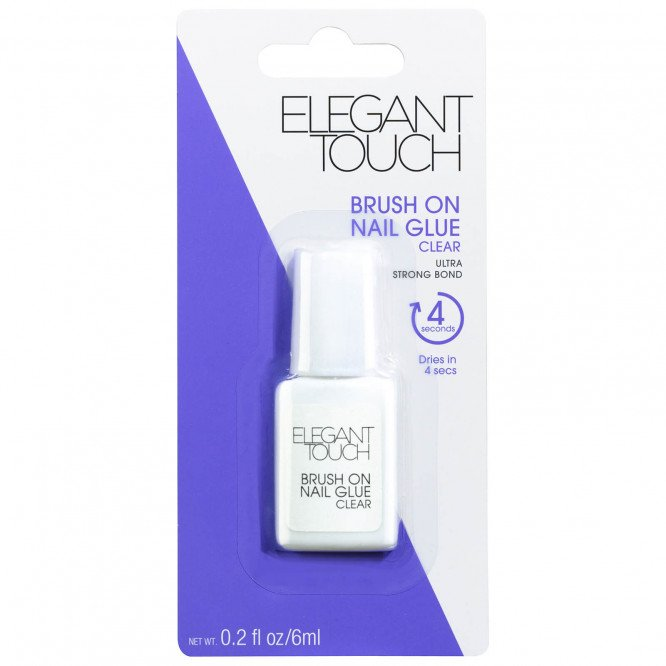 Elegant Touch Brush On Nail Glue Clear 6ml Strong Bond