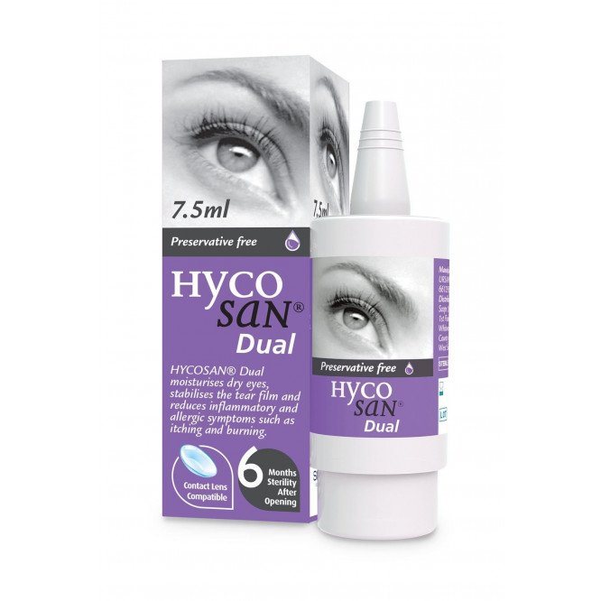 Hycosan Dual Preservative-Free Lubricating Allergy Eye Drops 7.5m