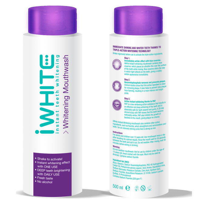 Iwhite instant teeth whitening mouthwash 500ml