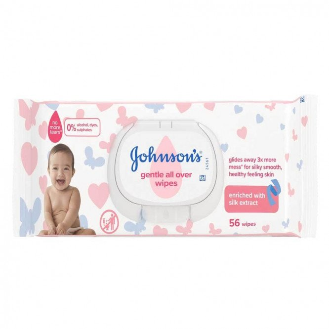 Johnsons Gentle All Over Baby Wipes 56 Wipes