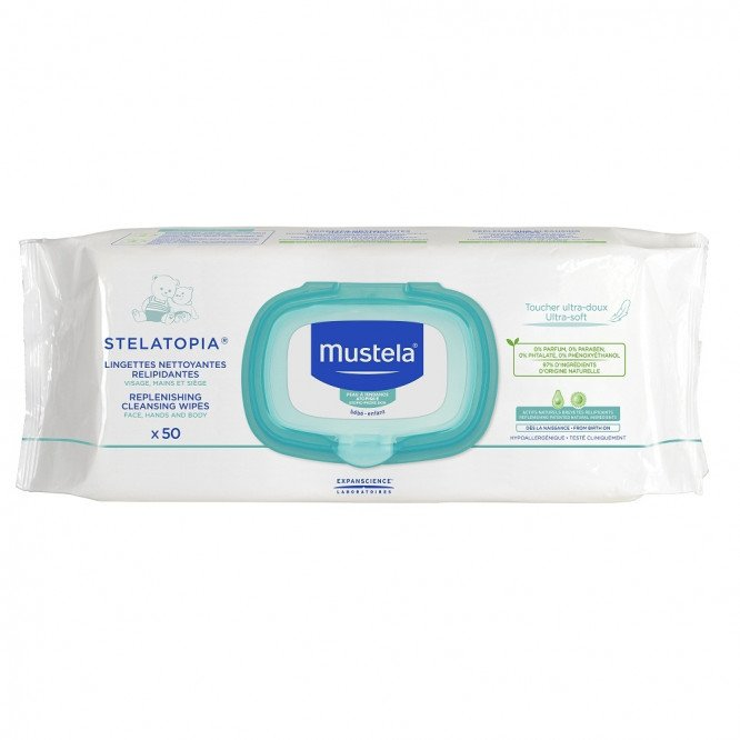 Mustela stelatopia replenishing cleansing wipes