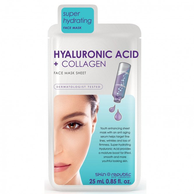 Skin Republic Hyaluronic Acid + Collagen Face Sheet Mask