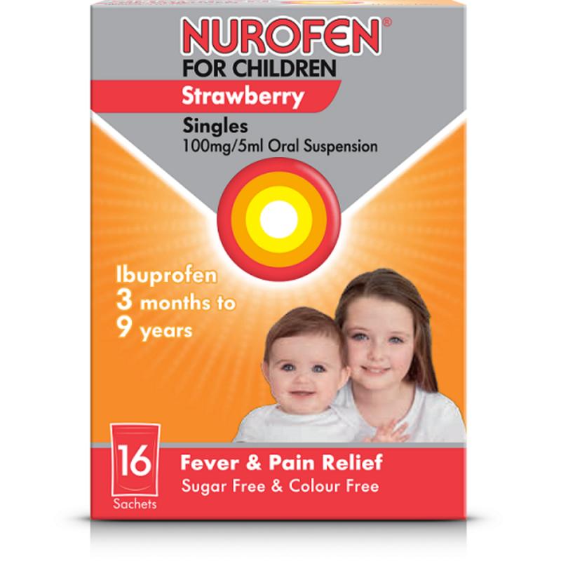 Nurofen for children suspension sachets strawberry 100mg/5ml 5ml 16 pack