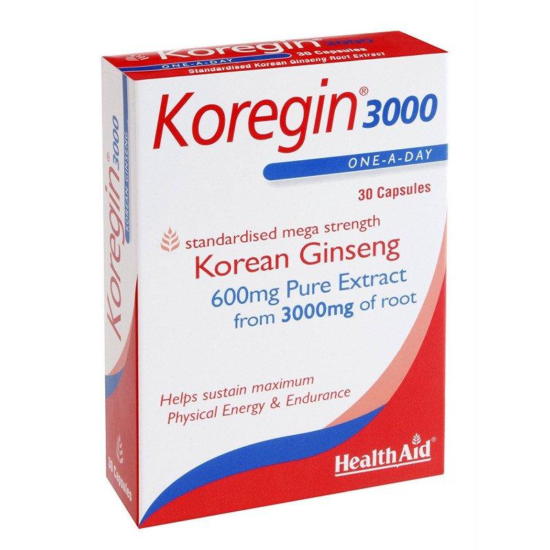Healthaid ginseng range Koregin Korean ginseng capsules 3000mg 30 pack