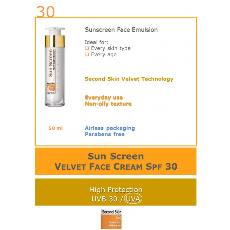 Frezyderm Sun screen velvet second skin technology spf3