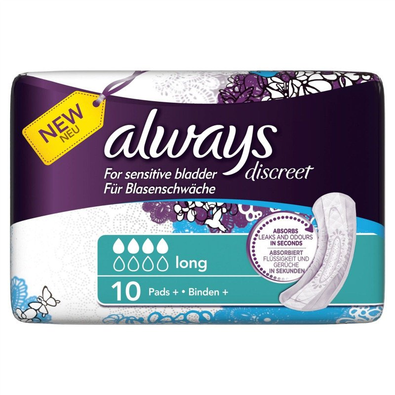 Always incontinence range Discreet pads long 10 pack