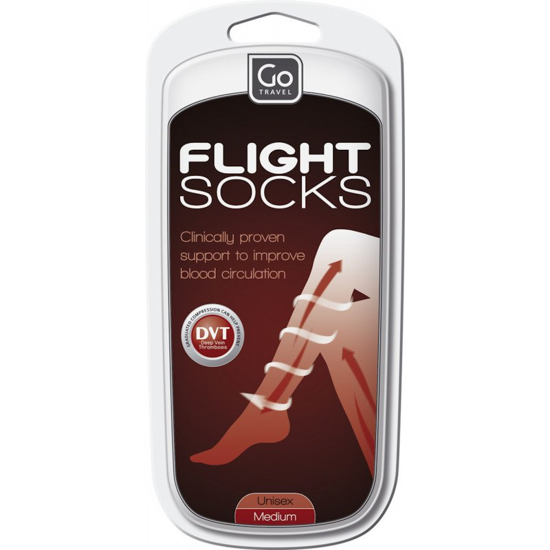 Go Travel Flight Socks Black (M)