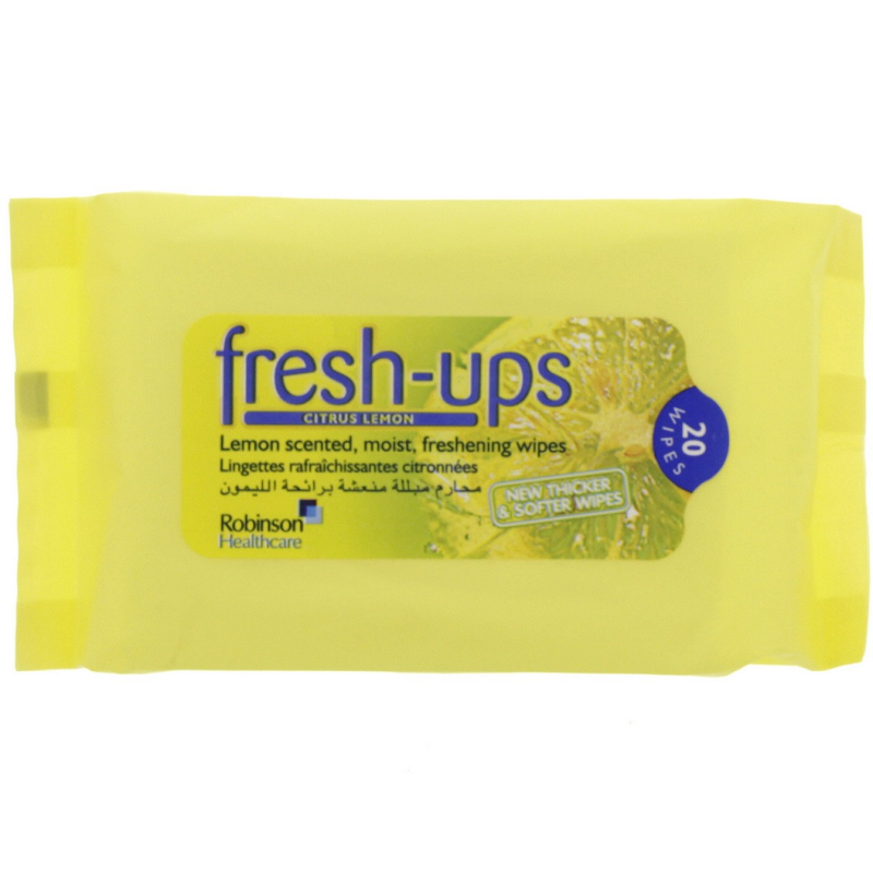 Fresh ups moist tissues citrus lemon 20 pack