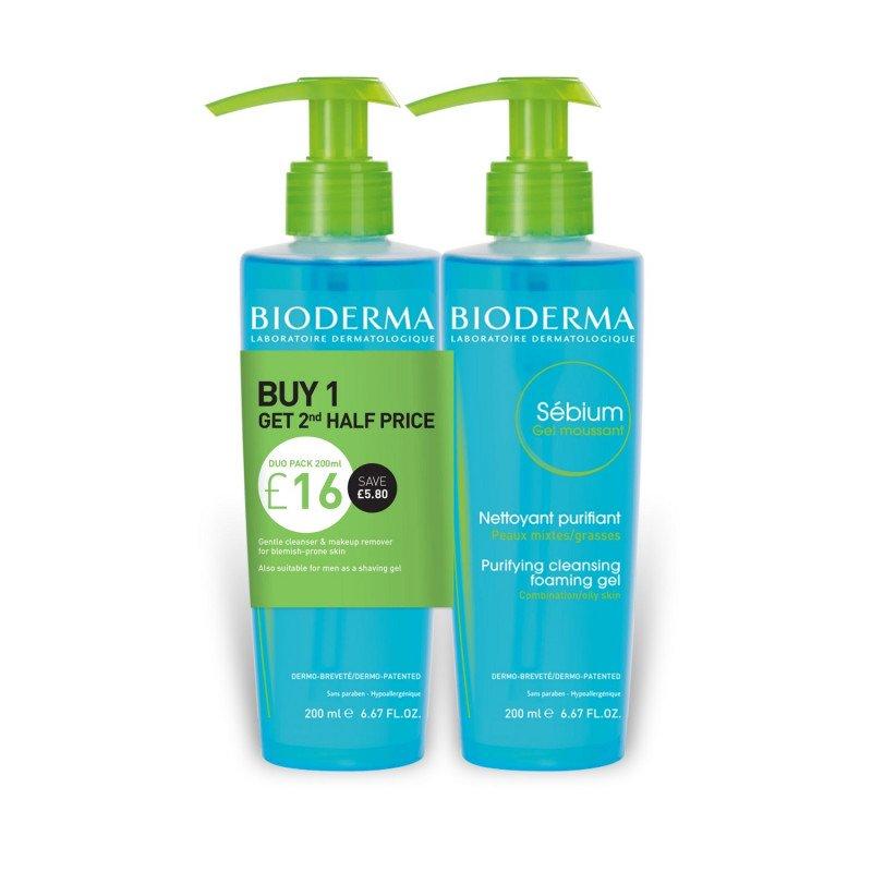 Bioderma Sebum Purifying Cleansing Foaming Gel 200 ml Duo Pack