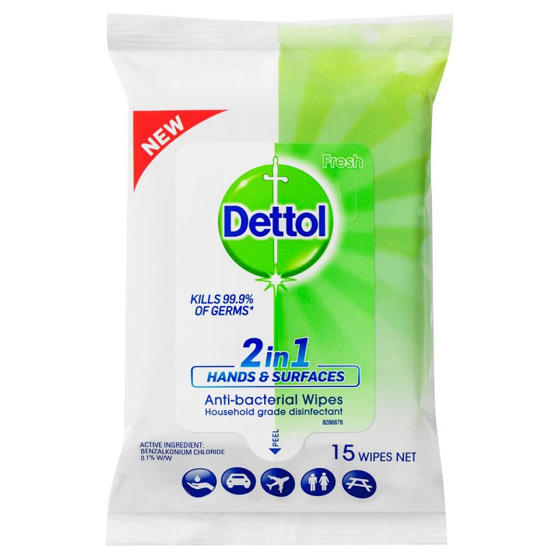 Dettol 2 in 1 Anti-Bacterial Hand and Surface Wipes 15