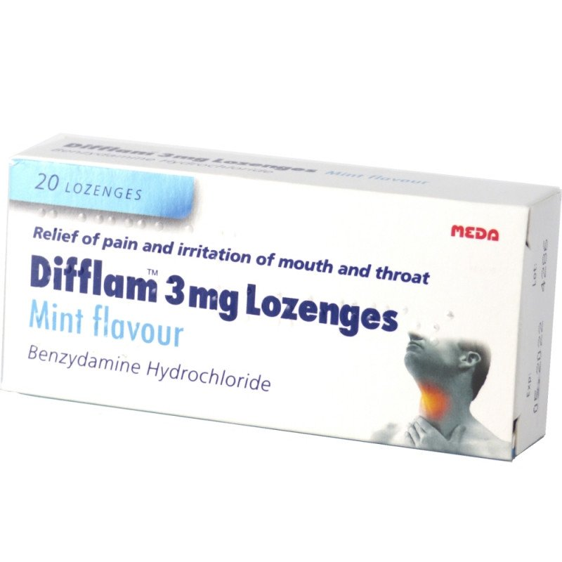 Difflam 3mg Lozenges Mint Flavour 20s