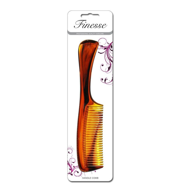 Finesse Hair Comb with Handle, Brown/Shell