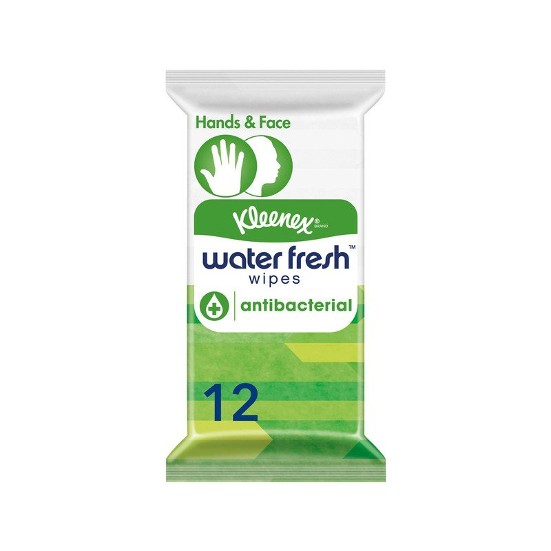Kleenex Water Fresh Antibacterial Wipes - Pack of 12 Wipes