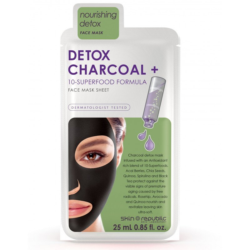 Skin Republic Detox Charcoal + 10 Superfood Formula Face Sheet Mask 25ml