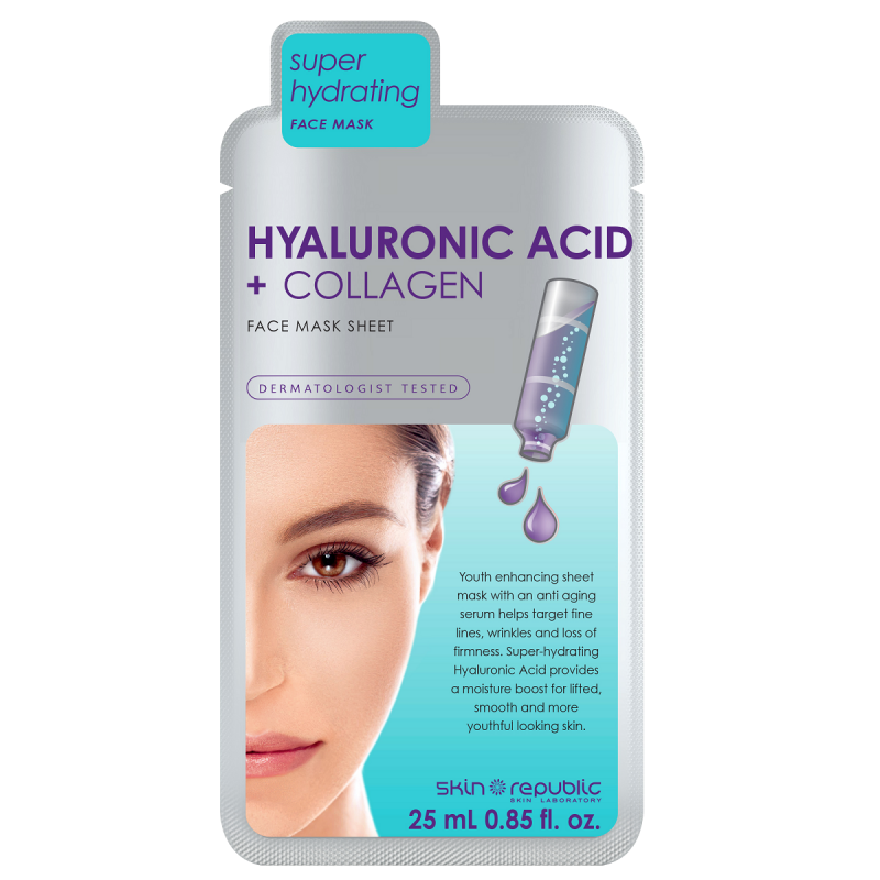Skin Republic Hyaluronic acid + collagen face mask sheet