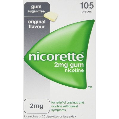 Nicorette chewing gum original 2mg 105 pack