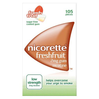Nicorette chewing gum fruitfusion 2mg 105 pack