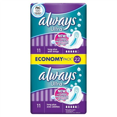 Always ultra sanitary towels long plus duo 22 pack