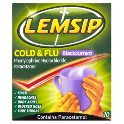Lemsip cold & flu blackcurrant 10 pack