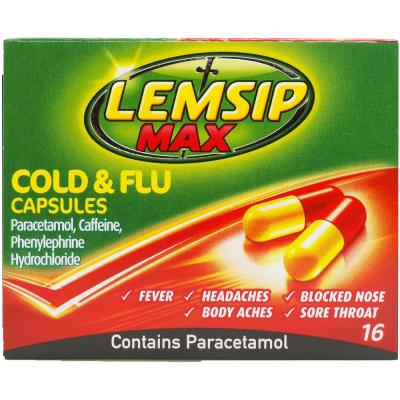 Lemsip max max cold & flu capsules 16 pack