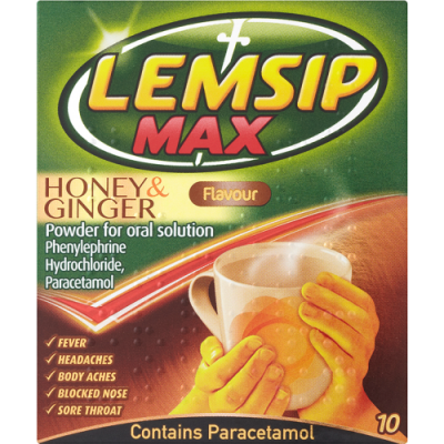 Lemsip max oral powder sachets honey & ginger 10 pack