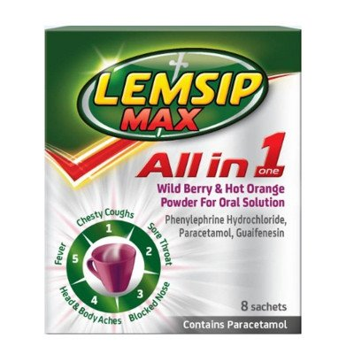 Lemsip max all in one wild berry and hot orange sachets 8 pack