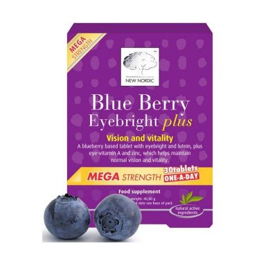 NEW NORDIC Blue Berry Eyebright Plus mega strength one-a-day tablets   30