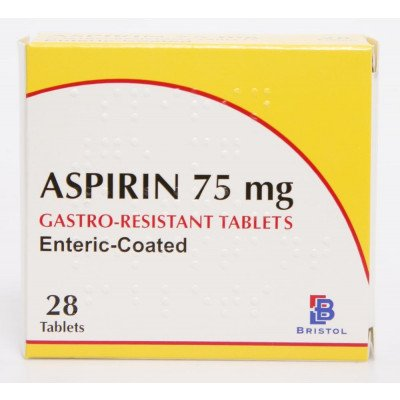 Aspirin tablets Enteric Coated 75mg 28
