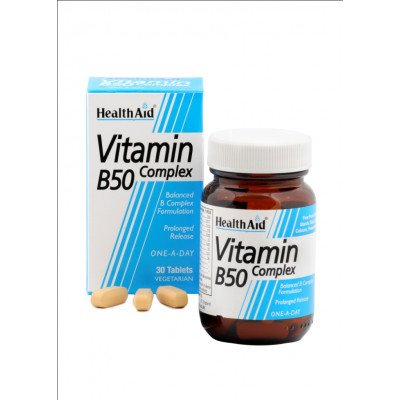 Healthaid vitamin B supplements B50 strong complex prolonged release tablets 30 pack