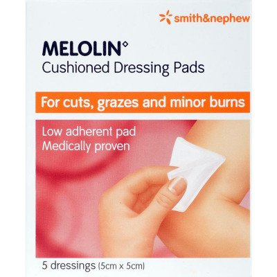 Melolin low-adherent absorbent dressing consumer/OTC pack 5cm x 5cm 5 pack