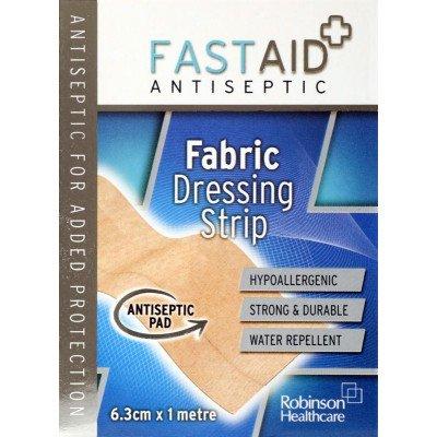 Fastaid plasters fabric dressing strip 6.3cm x 1m