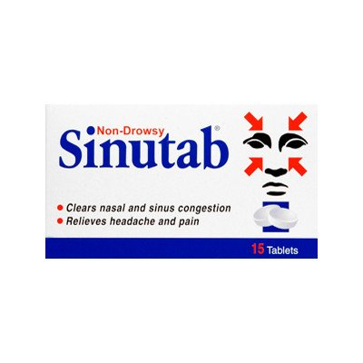 Sinutab tablets non-drowsy 15 pack