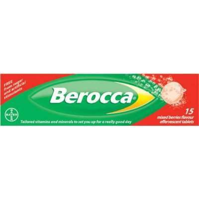 Berocca vitamin B effervescent tablets mixed berries 15 pack