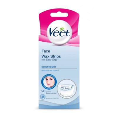 Veet cold wax leg strips sensitive face 20 pack