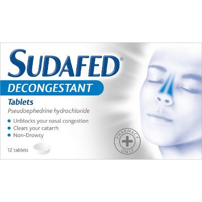 Sudafed decongestant tablets 60mg 12 pack
